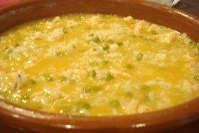 Risotto con gamberi e asparagi (arroz con gambas y espárragos)