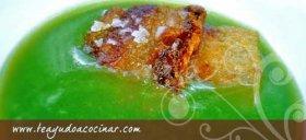 Crema de borrajas con papada ibérica.