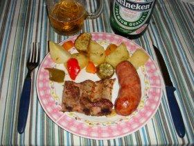 Cerdo al horno con vegetales