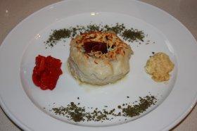 Rollitos de lenguado gratinados con trigueros y jamón ibérico