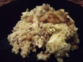 Cuscus al pesto e melanzane  cuscús con pesto y berenjenas