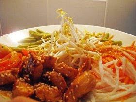 Ensalada de verduras y pollo yakitori
