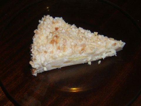Tarta de queso y manzana.