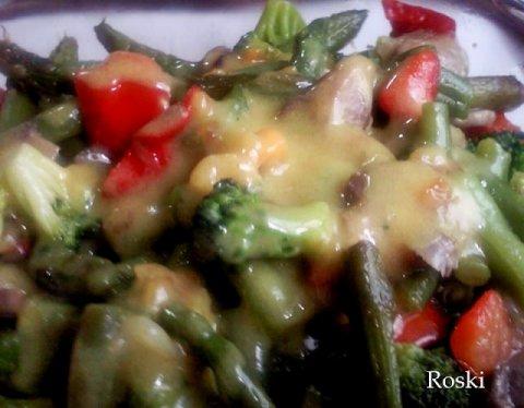 Verduras con salsa de curry dukan