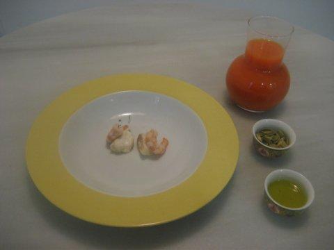 Sopa de calabaza, con rape al aceite de romero y sus pipas