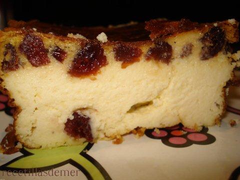 Pastel de queso y arandanos
