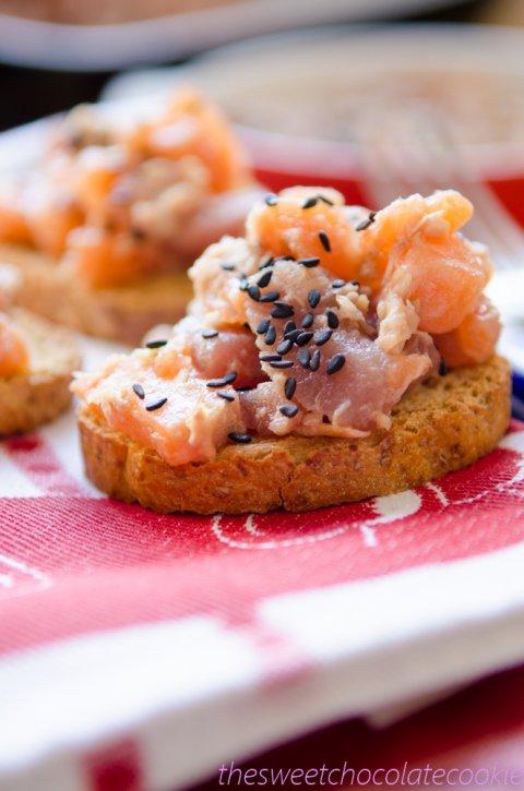 Tartar de salmón y atún con lima y jengibre