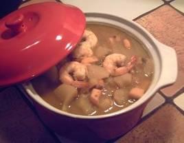 Marmitako de Cachón con patatas y langostinos