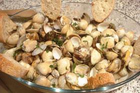Recetas caseras : Almejas y berberechos a la cerveza