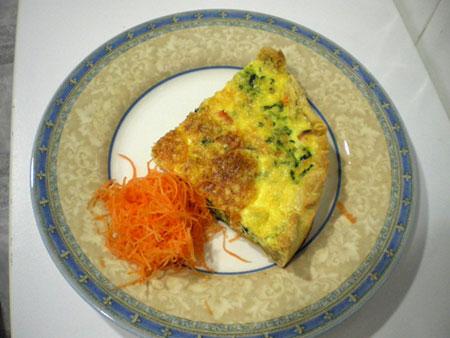 Tarta de espinacas y salmon ahumado.